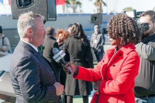 Riesa interviewing Orlando Mayor Buddy Dyer